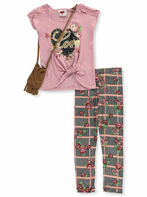 RMLA Girls' Trimmed Houndstooth 2-Piece Leggings Set Outfit with Purse