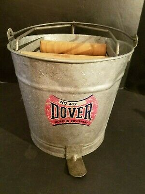 Vintage Galvanized DOVER #412 Mop Bucket w/ Wooden rollers & Foot Pedal Antique