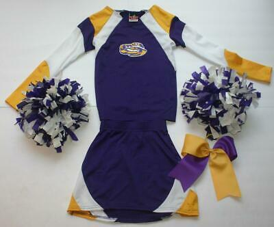 Lsu Tigers Cheerleader Costume Outfit Deluxe Pom Poms Cheer Bow 7 8 Girls