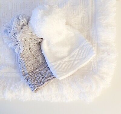 Baby Girls Boys Cable Knit Pom Pom Hat White Grey Newborn - 12 Months
