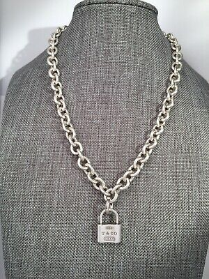 """Tiffany & Co Sterling Silver Removable Padlock Charm On 16"""" Rolo Link Necklace"""