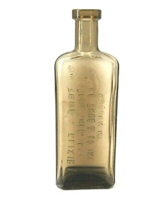 Antique Dr True's Elixir Brown Bottle Embossed Medicine Druggist Quack Rare