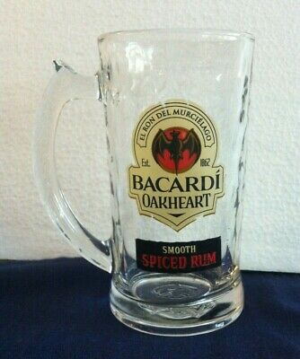 Bacardi Spiced Rum Logo on Clear Glass Tumbler with Large Handle