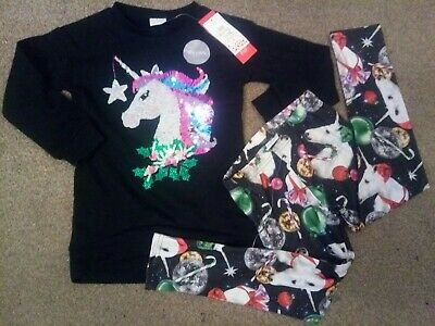 Girls unicorn Christmas outfit Leggings jumper Black Sequins 6-7 years New Tags