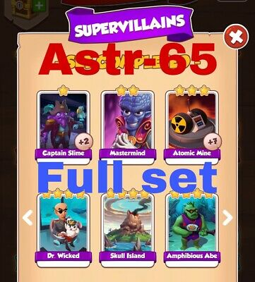 Coin Master Cards Supervillains Full Set 6 Cards Fast Delivery