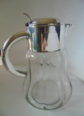 Vintage Large Glass and Silverplate Lid Water Ice Tea Pitcher  Germany US-Zurig