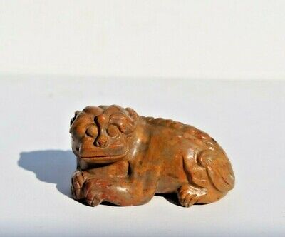 Wonderful Antique Chinese Master Hand Carved Brown Agate Stone Foo Dog