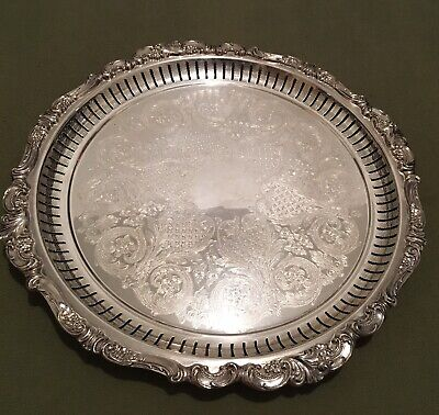 WALLACE SILVERPlATE LARGE BAROQUE WAITER COFFEE Reticulated TRAY