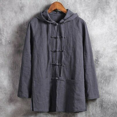 Mens Retro Style Chinese Tang Jacket Shirts Cotton Linen Coat Tops Loose Casual