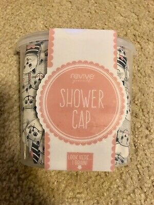 New Cat Kittens Print Shower Cap Black And White With Shower Holder
