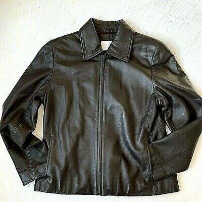 Womens Soft Leather Jacket Size Medium Petite Lambskin Fulled Lined Dark Brown