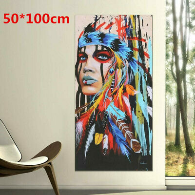 Indian Woman Modern Art Canvas Oil Painting Picture Print Home Wall Decor
