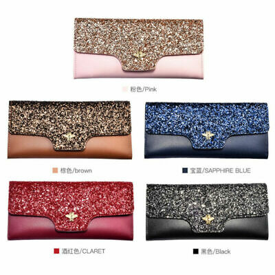 Fashion Leather Sequin Trifold Clutch Wallet Long Card Holder Case Purse Handbag