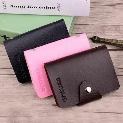 Women Solid Color Cute Wallet Bag Leather Simple Bifold Small Handbag Purse Clip