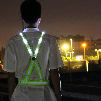 Adjustable USB Rechargeable LED Reflective Belt Vest for Running Cycling Whit AU