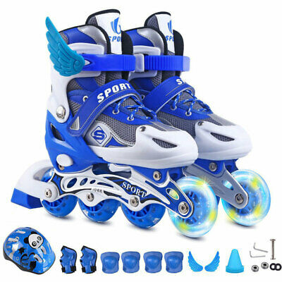 Adjustable Kids Inline Skate Roller Skates Shoes With Helmet Protective gear set