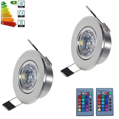 2x 3W RGB LED Recessed Ceiling Spot Lamp Wall Light Remote Control Spotlight