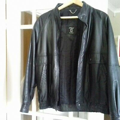 M&S Mens Soft Black Genuine Leather Jacket Super Condition - Size Medium