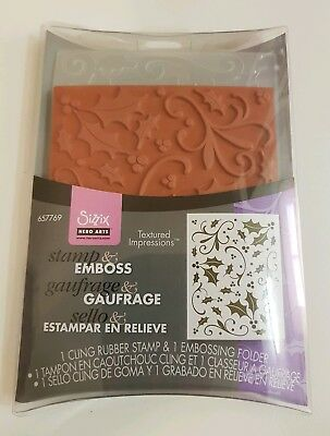 BNIP Stamp & Emboss Cling Rubber Stamp + Embossing Folder Holly Sizzix Hero Arts