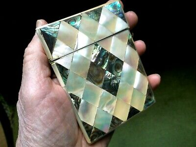 Fine Antique 19Th Century Superb Mother Of Pearl And Abolone Visiting Card Case
