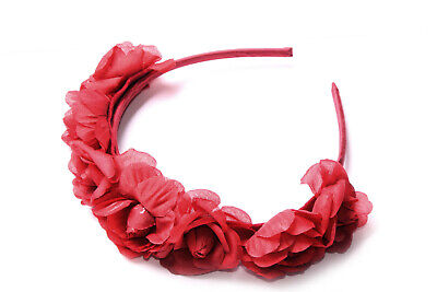 Dark Red Skinny Hedband w Multiple Flowers On Top Spanish Carnival Trend (S620)
