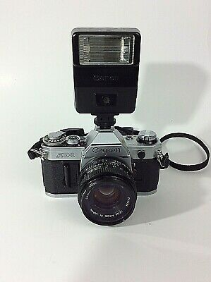 Canon AE-1 Program 35mm Camera with 50mm f/1.8 FD Lens w Canon Speedlite 155A