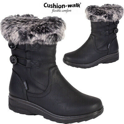 Ladies Mid Calf Warm Lined Snow Boots Women Fashion Grip Sole Winter Boots Shoes