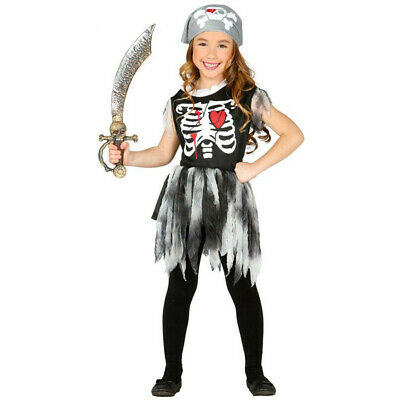 Girls Skeleton Pirate Halloween Costume + Bandana Childs Outfit 10-12 anni