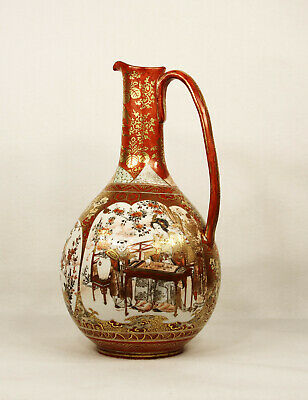 Antique Japanese Kutani Hand Painted Porcelain Ewer/Vase Meiji Period Signed