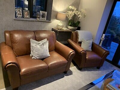 Pleasing Dfs Peyton Ranch Brown Leather Sofa Set 3 Seater 2 Seater Gmtry Best Dining Table And Chair Ideas Images Gmtryco