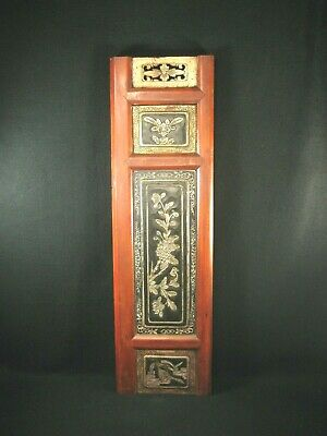 ANTIQUE CHINESE c. 1900 HAND CARVED BUDDHIST TEMPLE WOODEN CARVING CHRYSANTHEMUM