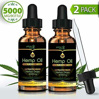 Organic Hemp Oil Extract for Pain & Stress Relief - 5000mg (2Pack)