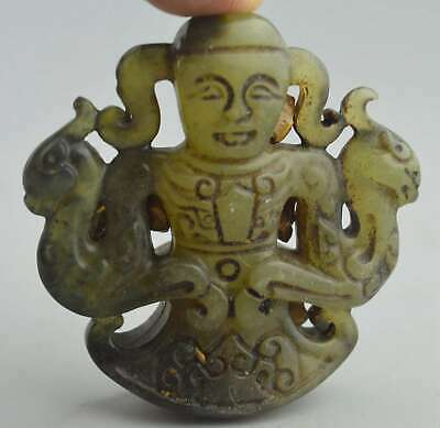 China Collectable Jade Carve Dragon Phoenix Around Child Lucky Usable Pendant