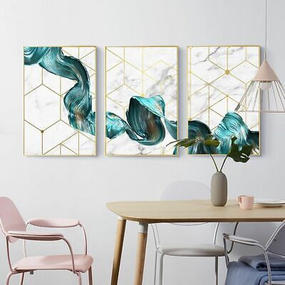 Painting Waterproof Ink Geometric Abstract Blue Fabric Print Home Wall Picture