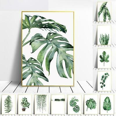 Wall Art Paintings Waterproof Ink Green Leaves Plants Living Room Decor Canvas