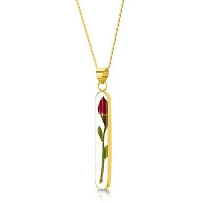 23K Gold Plated Silver Necklace Handmade Real Flowers Rose Long Valentine Gift