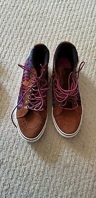 NWOB VANS MENS BROWN PINK HIGH TOP CANVAS SKATEBOARDING