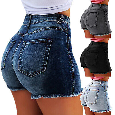 Womens Slim Fit Stretch Denim Shorts Jeans High Waisted Casual Skinny Hot Pants