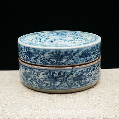 Chinese Blue White Porcelain Ancient Old Man Play Chess Ink Box Rouge Powder Box