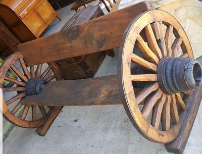 Antique wagon wheel bench garden seat