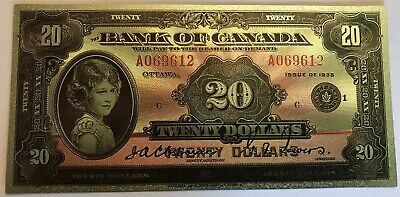 $20 1935  Bank of Canada English superb  polymer silver plated banknote