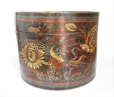 Antique Chinese Round Wooden Box w/ Painted Phoenix Bird