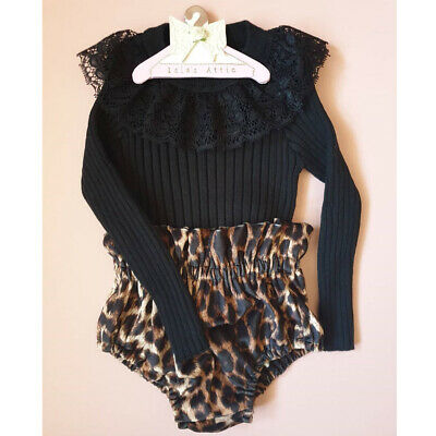Newborn Baby Girl Leopard Print Clothes Long Sleeve Romper Short Pants Outfits