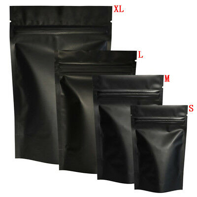 100pcs Matte Black Heat Selfseal Bags Resealable Zip Lock Packaging Bag*