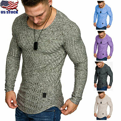 Fashion Mens Slim Fit O Neck Long Sleeve Muscle Tee T-shirt Casual Tops Blouse