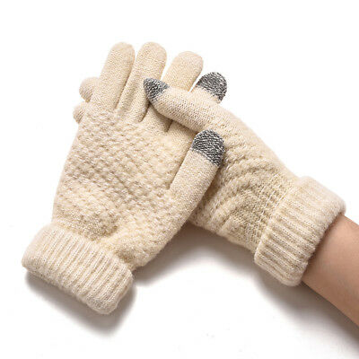 Unisex Fashion Cashmere Touch Screen Full Finger Gloves Warm Windproof Mittens