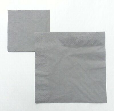 Grey silver 3 ply Dinner napkins 40cm.  50 in pack Wedding, birthday, party