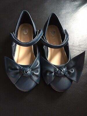 BNWOT V by Very Girls Blue Bow Ballerina Shoes Size UK 10