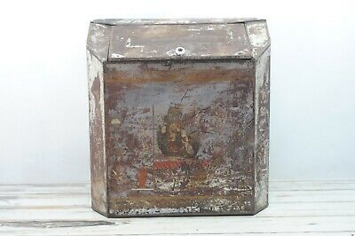 Antique Very Large Bin Tin Box Lithograph Country Store Tea Coffee Asian Scene