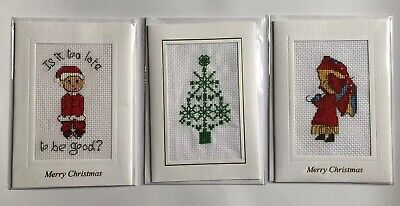 Completed Cross Stitch Christmas AOY girl And Umbrella Card 4x6 Inch